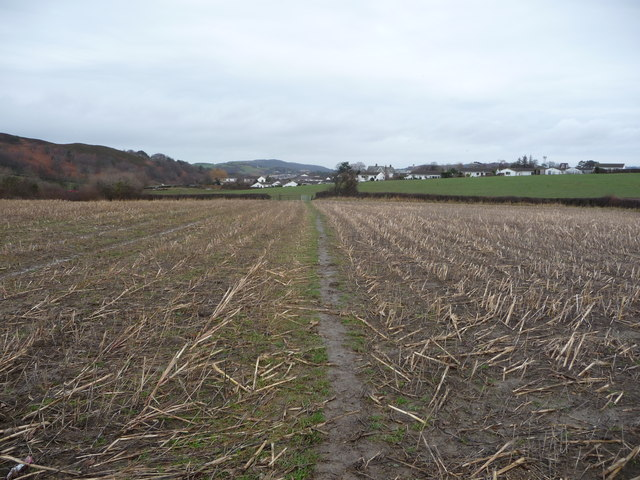 Footpath across winter fields near Conwy