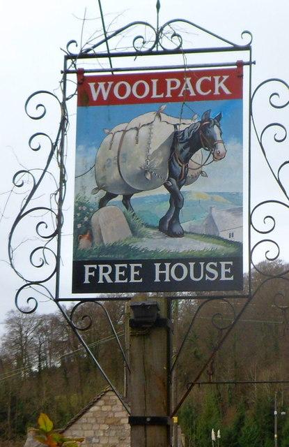 The Woolpack pub sign, Slad