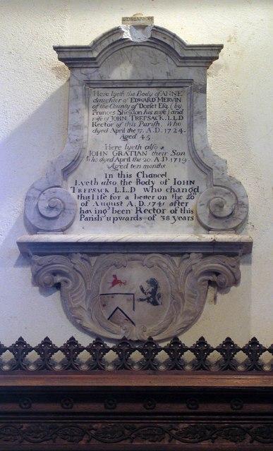 All Saints, Rayne - Wall monument