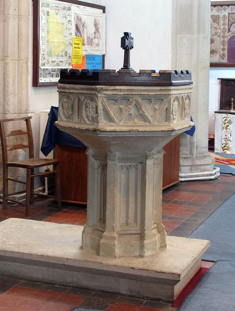 St Andrew, Shalford - Font