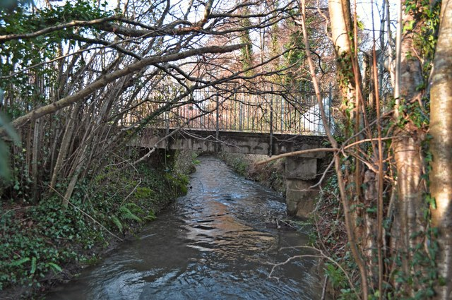 A view of a footbridge near St. John's garden centre from downstream on Coney Gut