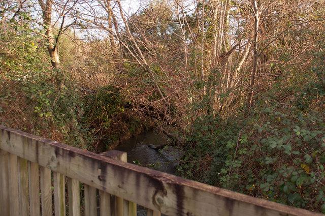 Looking upstream on Coney Gut from a footbridge near Tesco Petrol Station