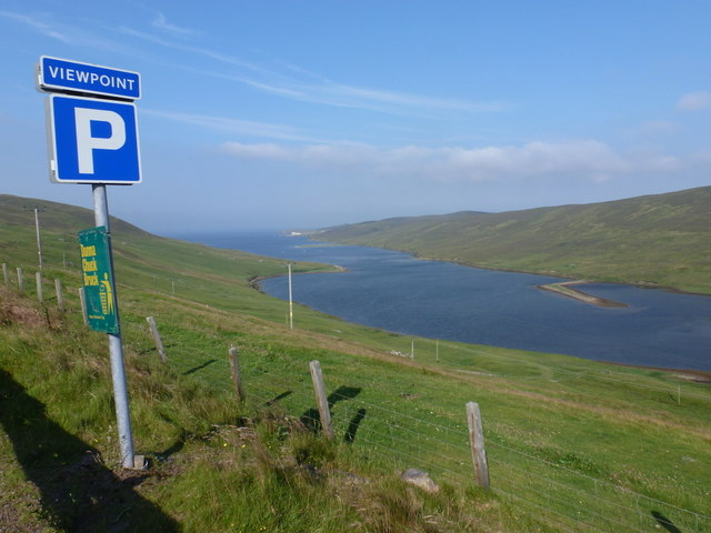 Lerwick: viewpoint parking sign above Dales Voe