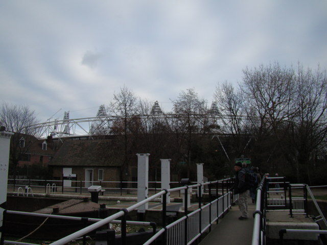 View of the Olympic Stadium from Old Ford Lock #2