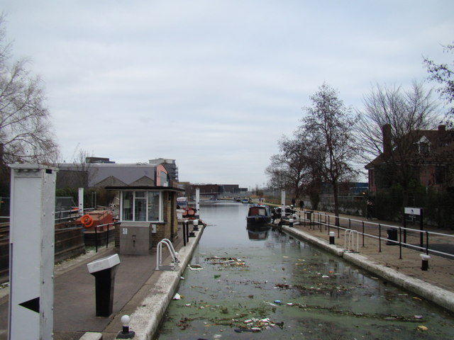 Looking along the River Lea towards Hackney