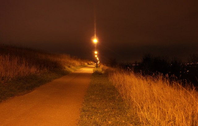 Footpath to Longhill Avenue, at night (2)