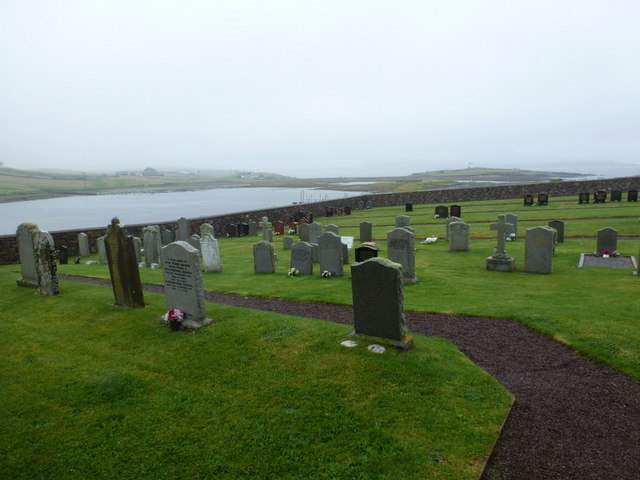 Whalsay: the churchyard and Houb