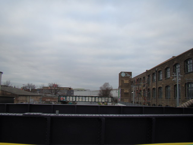 View of the London Overground bridge over the Lea