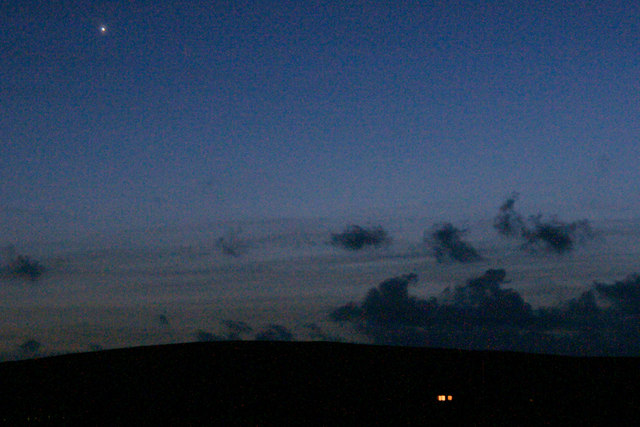 Venus over Baltasound at dusk