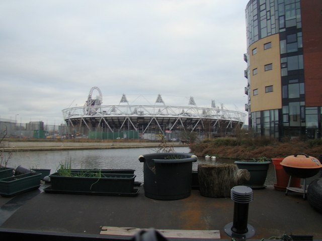 View of the Olympic Stadium from the Hertford Union Canal