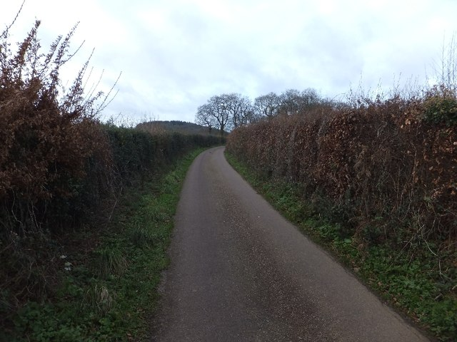 Minor road at the top of Forges Hill looking to Forges Cross