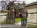 SJ8395 : Alexandra Park, Claremont Road Gate and Chorlton Lodge by David Dixon