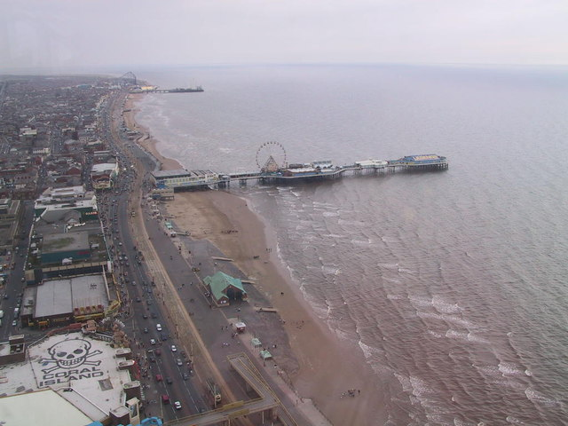 Blackpool Tower at Top facing Pleasure Beach