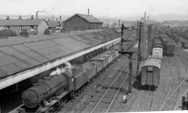 Rose Grove Station, with westbound coal train