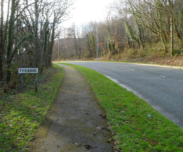 Ty Canol Way reaches Ty Canol, Cwmbran
