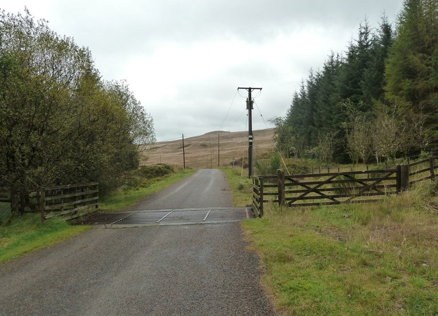 A cattle grid on the B796