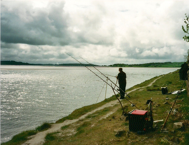 River Leven estuary and angler