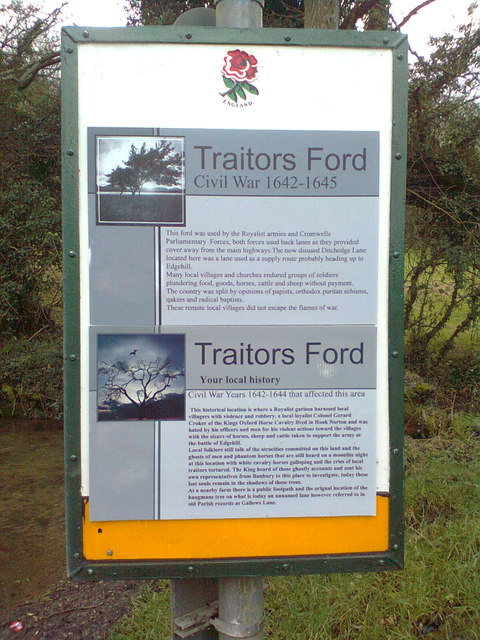 Information board at Traitor's Ford