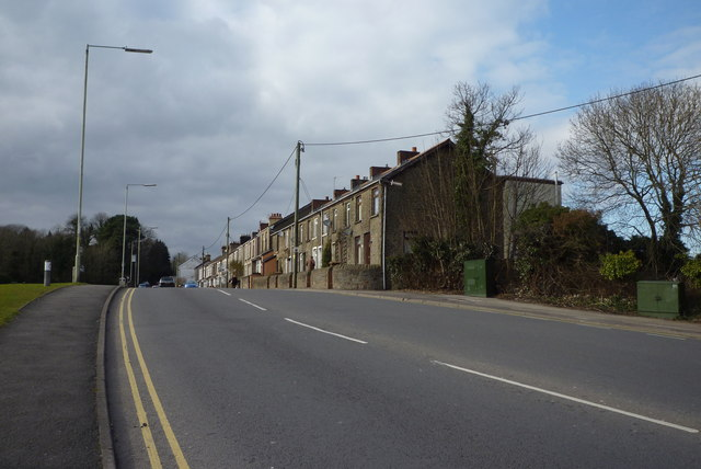 Row of houses at the bottom end of Nantgarw Road Caerphilly