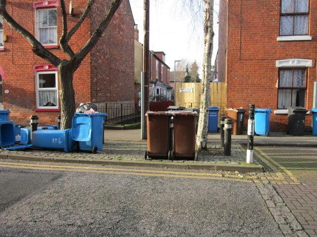 Wheelie bin day on Mayfield Street