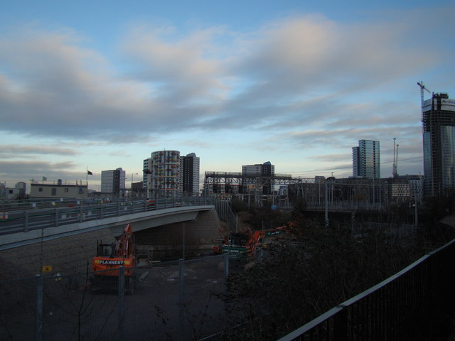 View of towerblocks and railway lines in Stratford from outside the Container Cafe