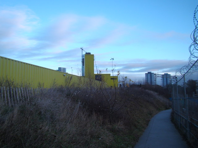 View of the Container Cafe from the path leading down to Pudding Mill Lane DLR