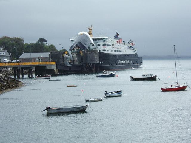 Calmac Ferry tied up at Tarbert Harris