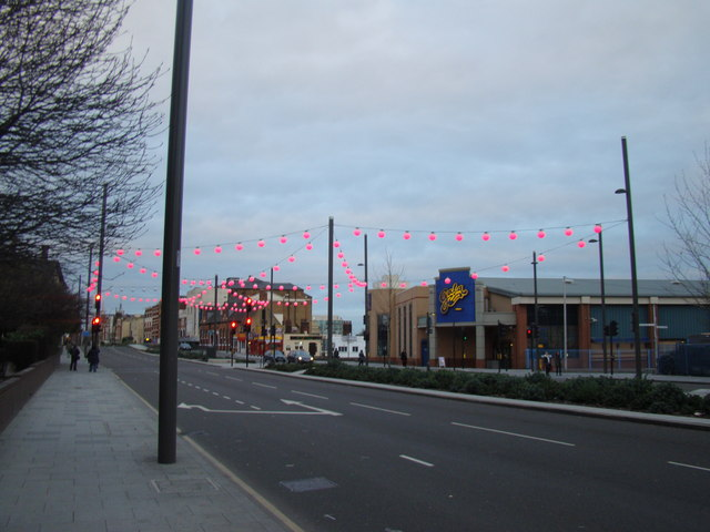 Colour-changing lights on Stratford High Street