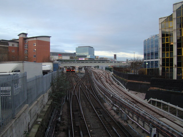 View of the Jubilee line, the DLR and Westfield from Stratford High Street