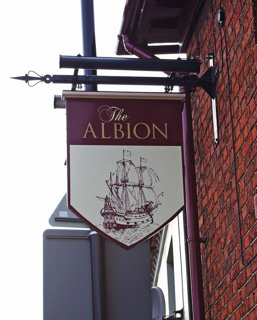 The Albion (3) - sign, 2 Aston Street, Wem