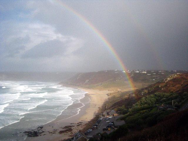 Rainbow over Sennen beach