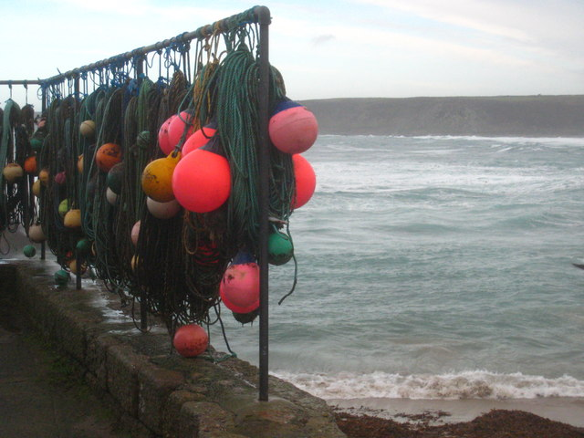 Crab pot lines and floats in Sennen Cove harbour