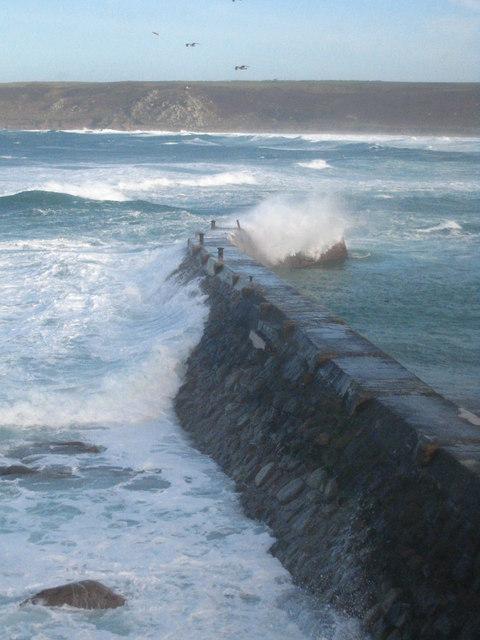 Heavy winter seas on Sennen Cove breakwater