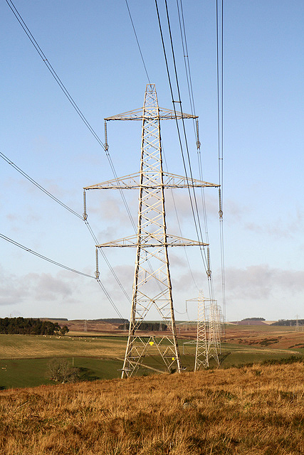 Power lines and pylons at Woodheads Hill
