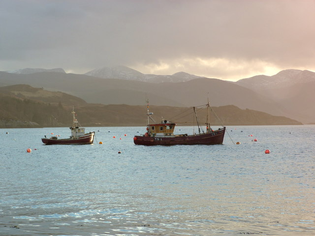 Fishing boats anchored in Ullapool Harbour