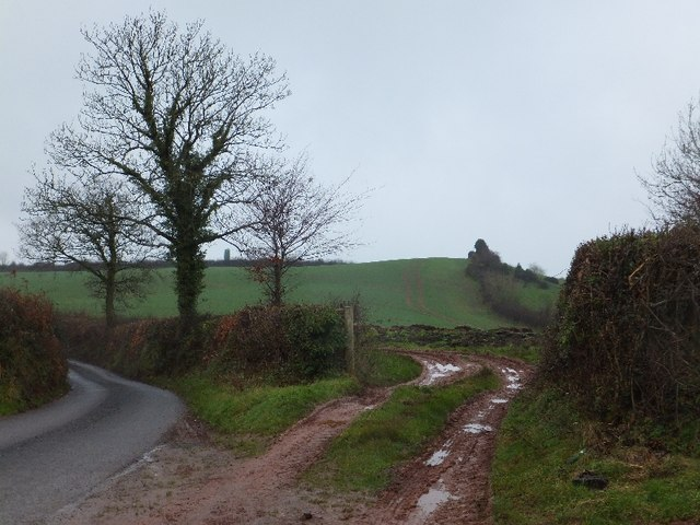 Gateway and bend in road west of Burrow Corner