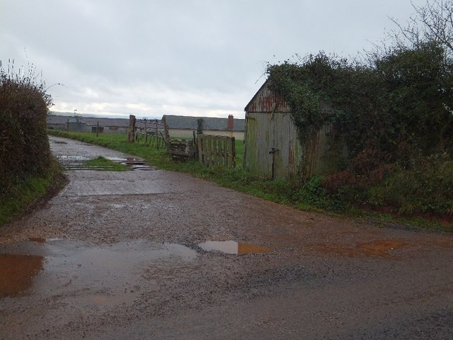 Farm access road and shed at Overleigh