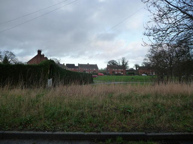 Crescent of housing in Cruckton village near Shrewsbury