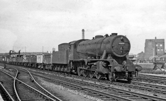 Up freight entering Doncaster