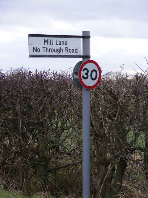 Mill Lane sign on the B1117 Laxfield Road