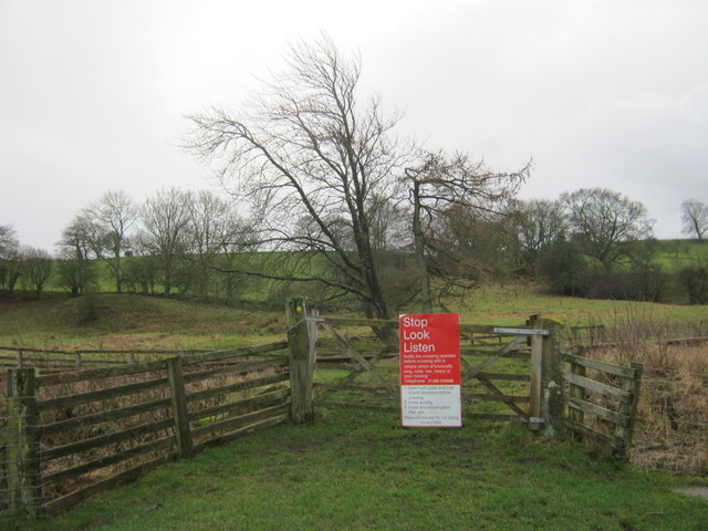 Level crossing on the Weardale Railway for field access and a footpath