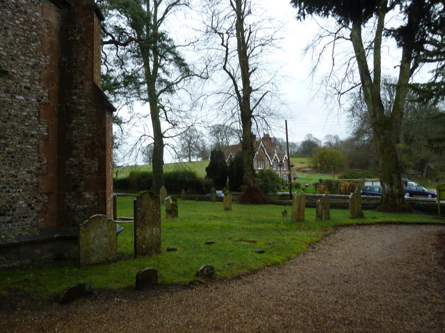 """Looking from East Tisted Churchyard over to the lodge for the """"Big House"""""""