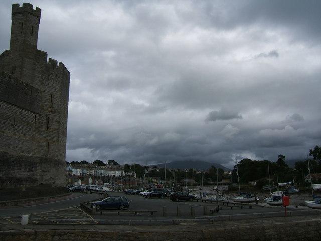 Carpark beside Caernarfon Castle
