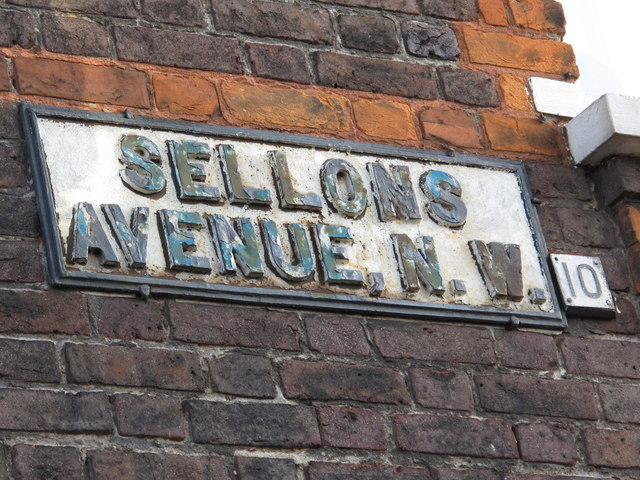 Sign for Sellons Avenue, NW10