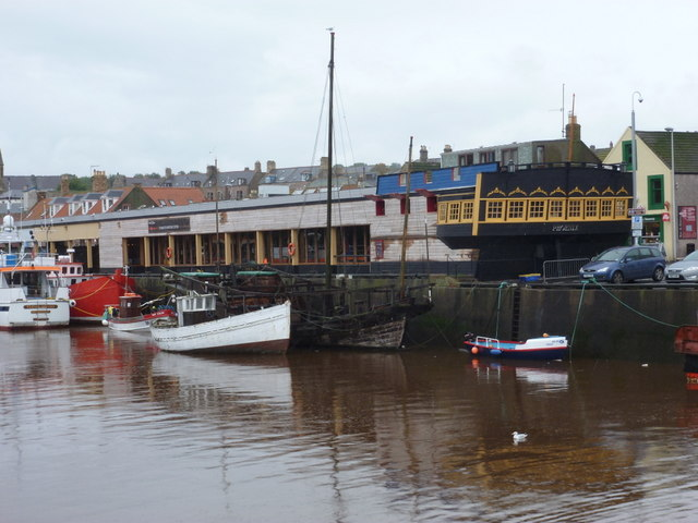 Eyemouth: the Phoenix building from across the river