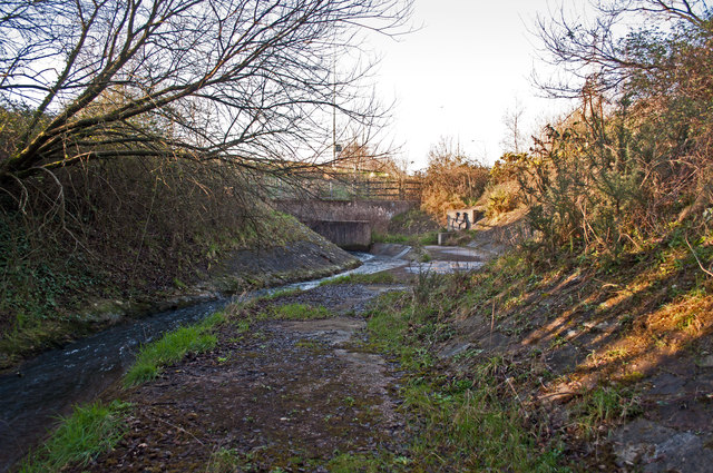 A view from upstream on Coney Gut of a duct which passes under the A39, Eastern Avenue