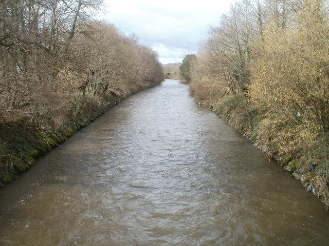 Rhymney River flows towards Forge Bridge, Machen