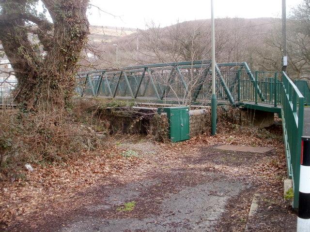 Sewage pumping station and footbridge, Machen