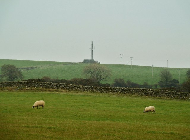 Looking towards a mast on Standingstone hill
