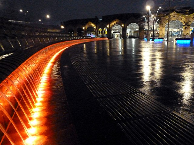 Sheaf Square fountains at night